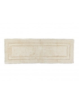 Solid Border Cotton Bath Runner- Ivory